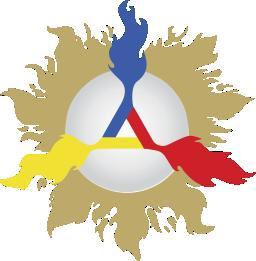 Escudo Gnosis con los tres colores de la Creación, Azul del Padre, Amarillo del Hijo y Rojo del Espíritu Santo